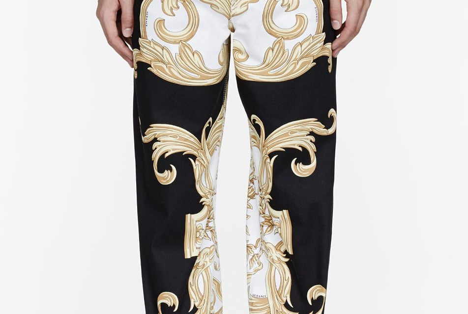 Lust Have   Versace Black & Gold Rococo Printed Runway Trousers