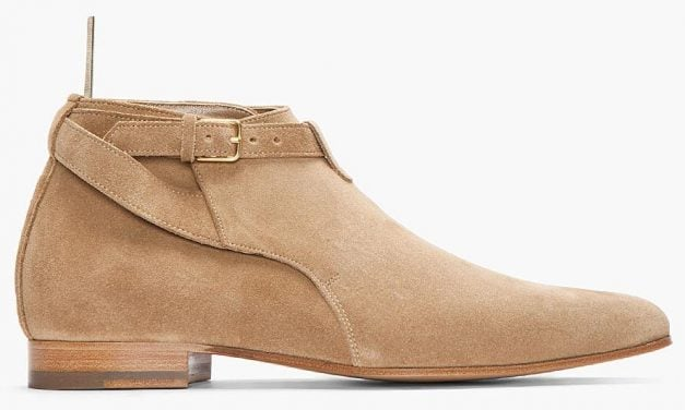 Lust Have | Saint Laurent Beige Suede Strappy Boot
