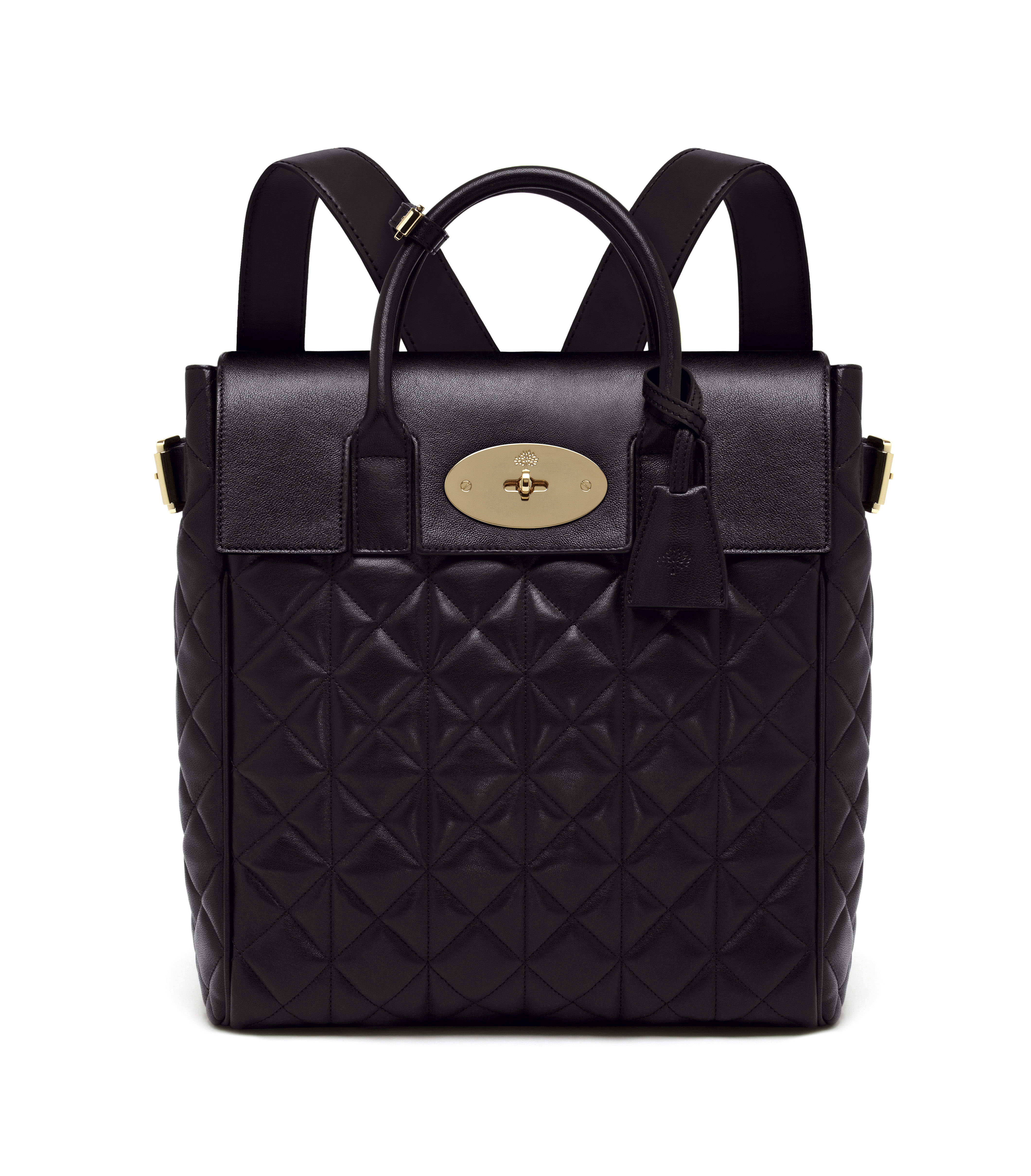 Large Cara Delevingne Bag in Black Quilted Nappa