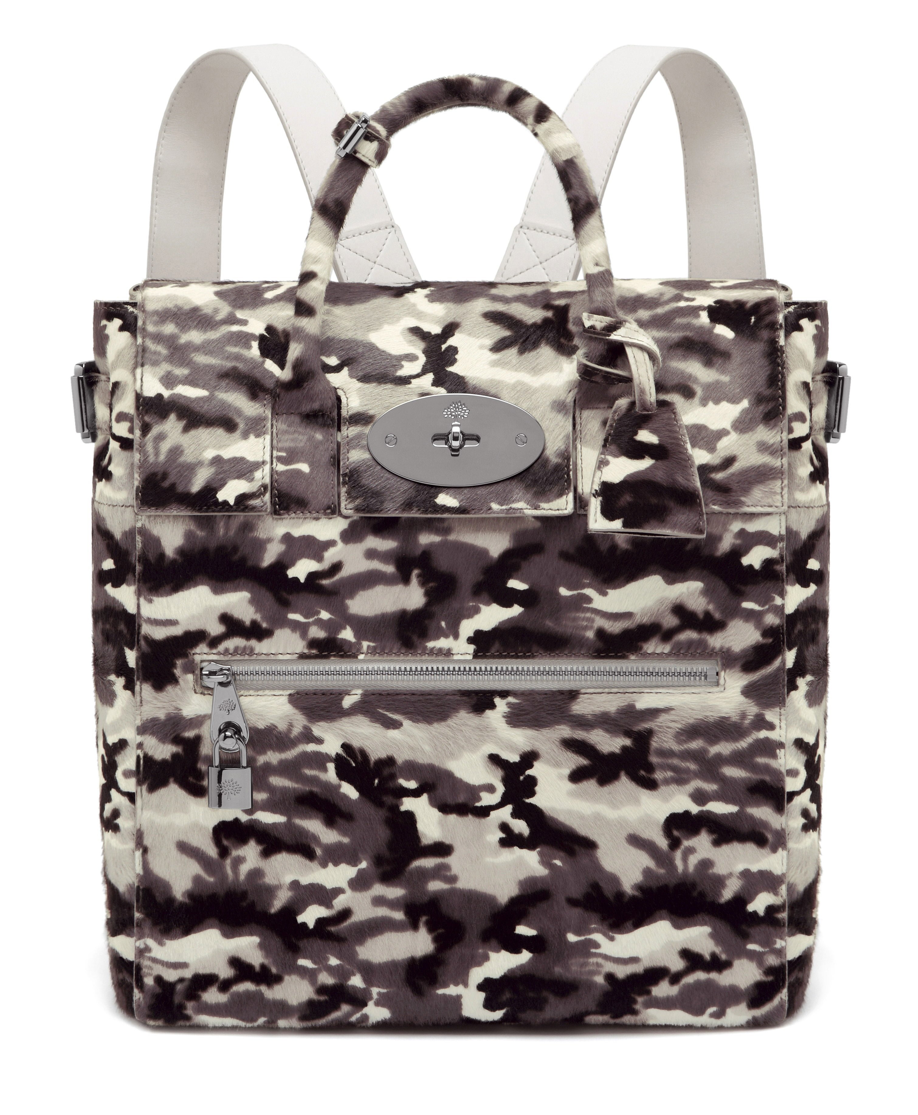 Large Cara Delevingne Bag in Black-White Camo Haircalf