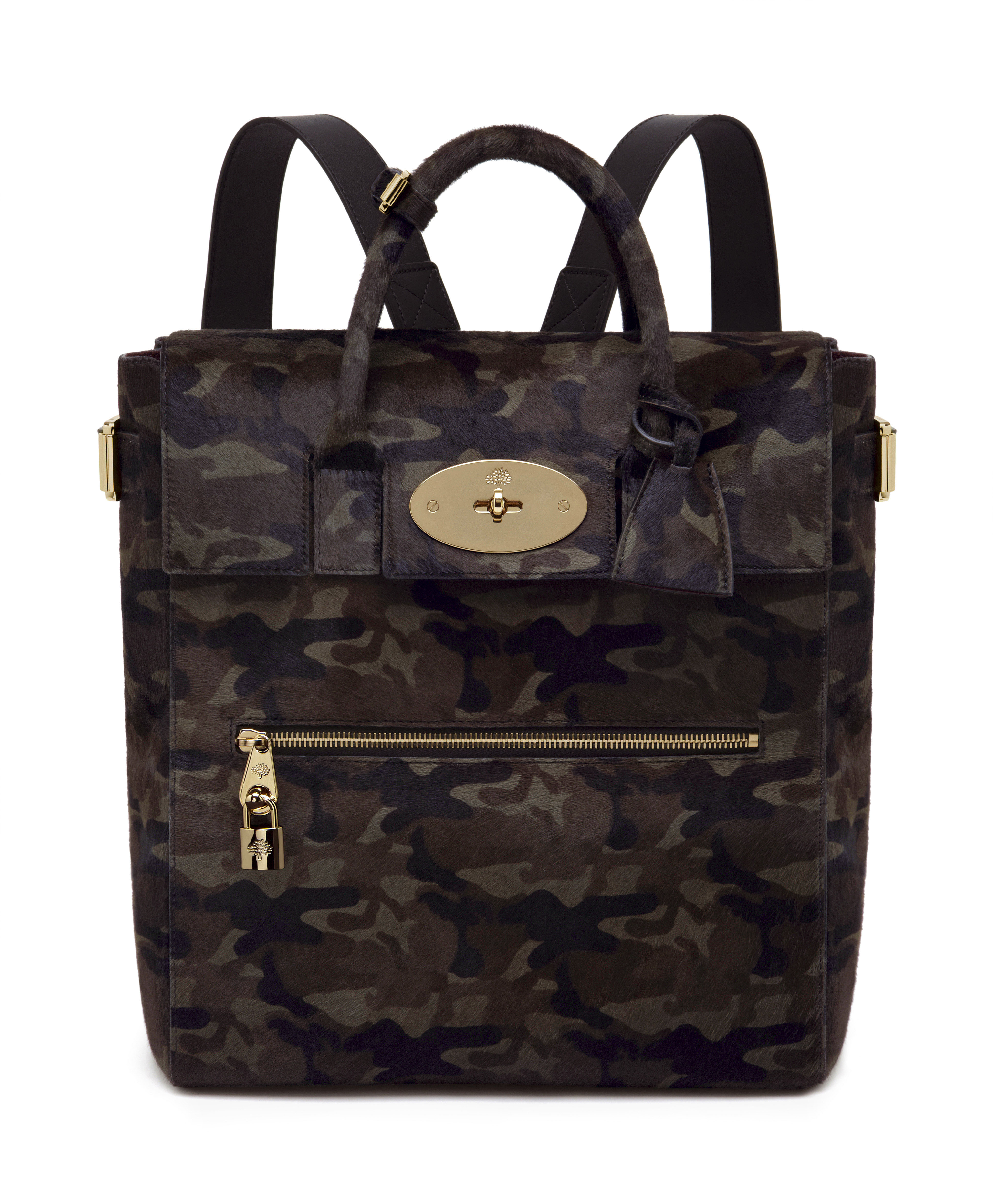 Large Cara Delevingne Bag in Khaki Camo Haircalf