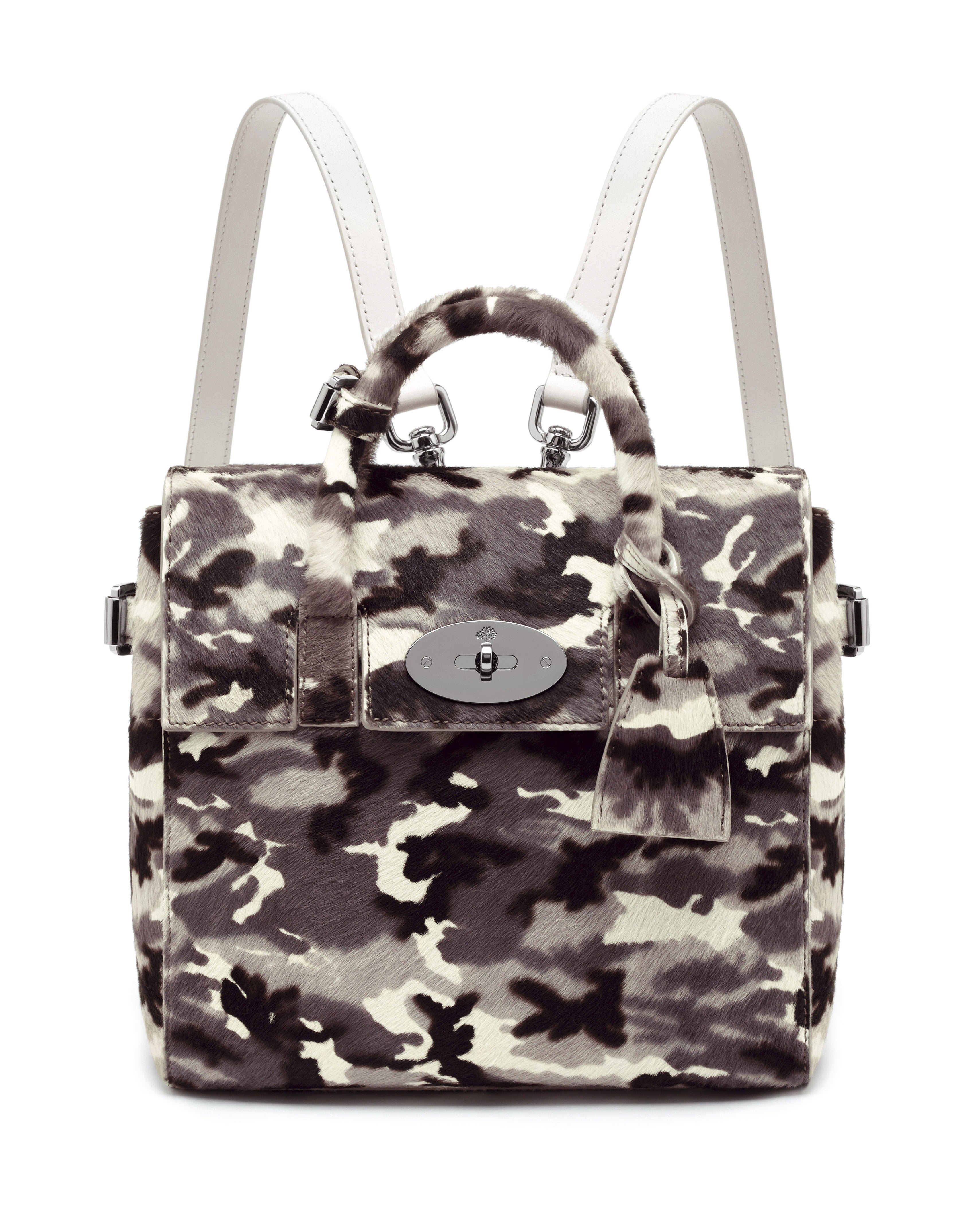 Mini Cara Delevingne Bag in Black-White Camo Haircalf