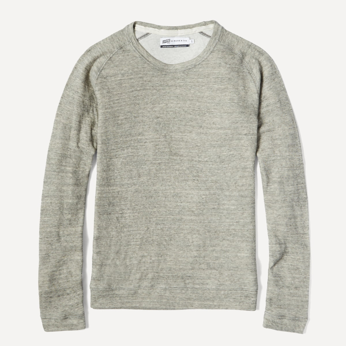 Naked & Famous x Frank & Oak Double-Faced Raglan Long Sleeve in Grey