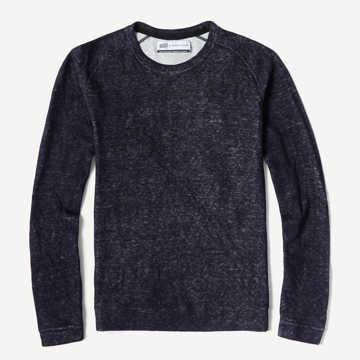 Naked & Famous x Frank & Oak Double-Faced Raglan Long Sleeve in Indigo